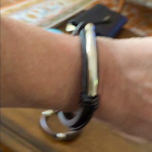 UNO de 50 Leather and Silver Bracelet
